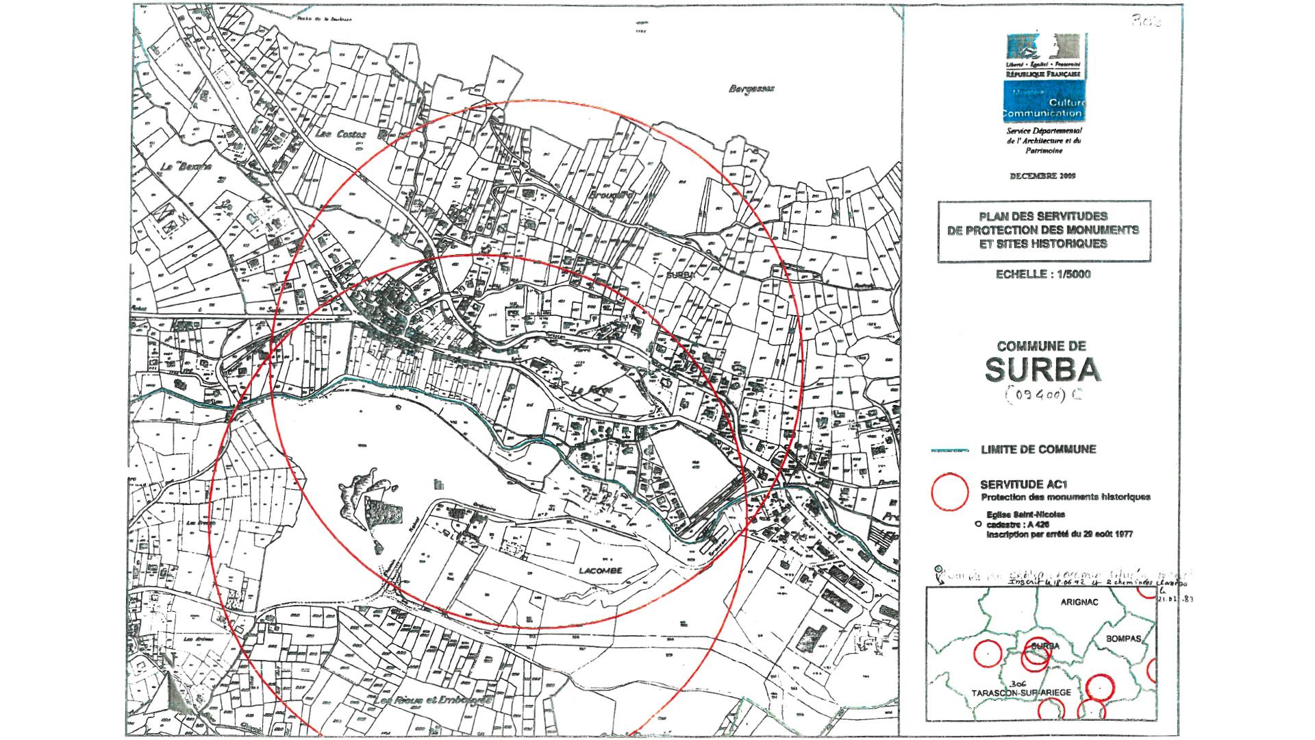 Carte des Bâtiments de France pour la commune de Surba